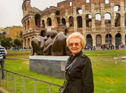 Sister Joan Cole in front of the Roman Coliseum