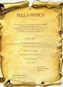 Sella & Mosca menu