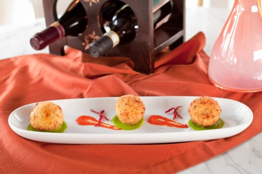 © rob warner photography 2014 This was suppli dish patterned after the dish I had in Monza that was on our last menu.  Convito Chef Noe Sanchez added sun-dried tomatoes to the suppli filling and placed them atop a pea puree