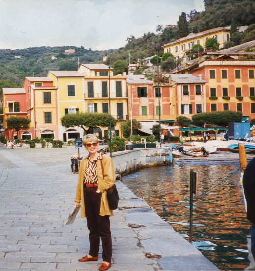 Nancy in front of Portofino harbor