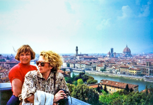 Karen & Nancy with view of the skyline of Florence