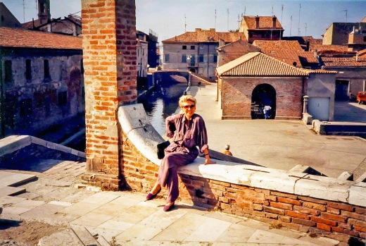 """Nancy taking a rest in the """"Hidden Canal"""" area of Bologna"""