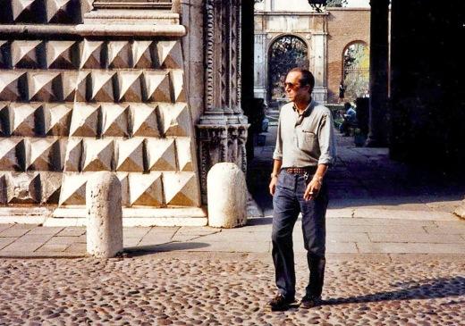 Paolo in front of Palazzo Dei Diamanti