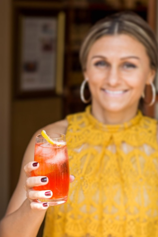 Restaurant Manager Sarka Kalocajova with the cocktail our staff invented for Convito's 35th Anniversary