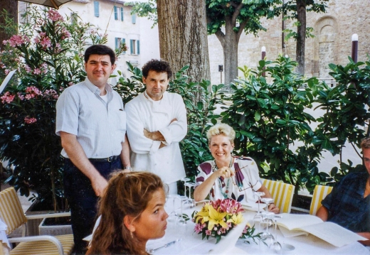 Francesco Bonfio, chef of Arnolfo, Nancy (left to right), Candace in foreground