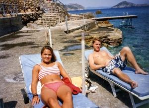 Candace & Rob on rocky coast of Tyrrhenian Sea