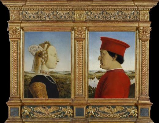 Double portrait of Battista Sforza and Federico da Montefeltro, Piero della Francesca, c. 1465-72. Galleria degli Uffizi.
